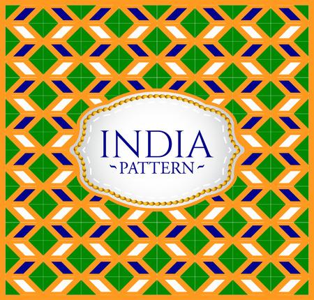 인도 패턴 - 배경 질감 및 엠 블 럼 인도의 국기의 색상 일러스트