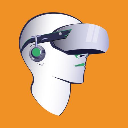 Virtual reality headset vector modern illustration, VR goggles