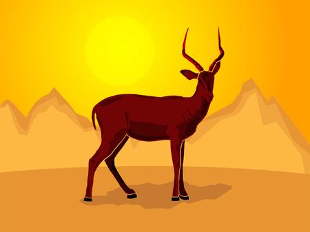 Impala on a stylized mountain background, Vector illustration