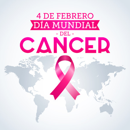 Dia mundial del Cancer - World Cancer Day 4 february spanish text. Pink ribbon and world map vector illustration