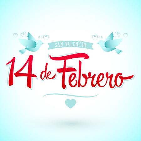 14 de febrero dia de San Valentin, Spaanse vertaling: 14 februari Valentijnsdag, vector belettering Stock Illustratie