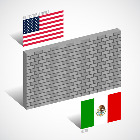 Wall between the United States and Mexico, border wall concept vector illustration