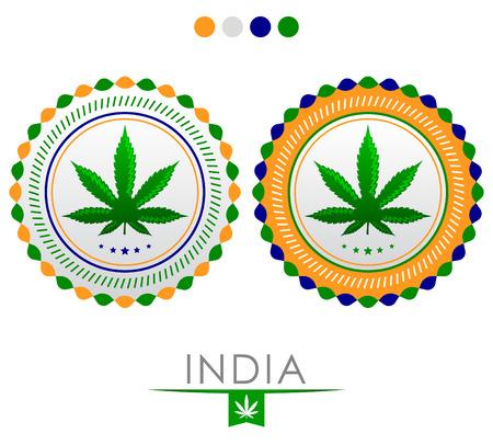 인도 대마초 엠 블 럼 - 벡터 인도 대륙의 국기의 색상 승인 대마초 인감