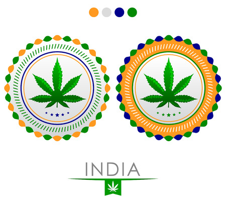 India marijuana emblem - vector cannabis seal of approval with the colors of the flag of India Illustration