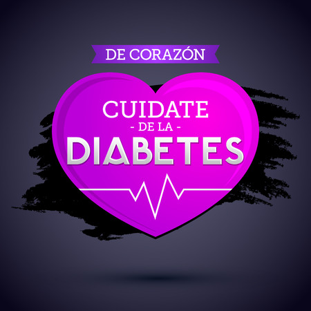 De Corazon, Cuidate de la Diabetes, Spanish translation: From the Heart, Take Care of Diabetes. Ilustração