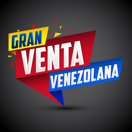 Gran venta Venezolana - Venezuelan big sale spanish text, vector modern colorful promotional banner