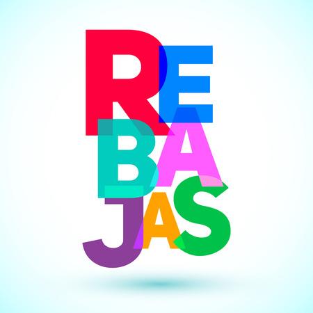 Rebajas - Kortingen spaanse tekst, verkoop vector kleurrijke letters ontwerp Stock Illustratie