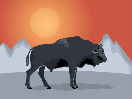 lonely person: Buffalo on a stylized mountain background, Vector illustration Illustration