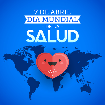 health care fight: Dia mundial de la Salud - World health day april 7 spanish text, heart and world map vector illustration