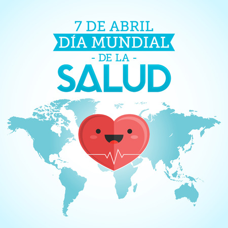 Dia mundial de la Salud - World health day april 7 spanish text, heart and world map vector illustration