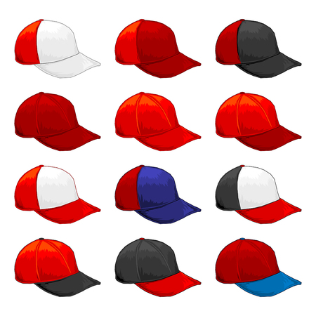 Red cap, Vector Variety of color combinations cap template