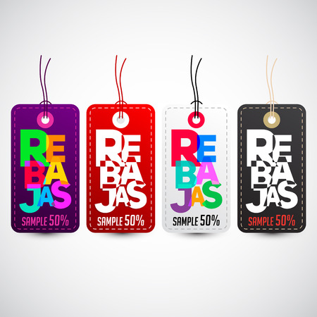 shopping malls: Rebajas - Discounts spanish text, sales vector colorful label tag collection set Illustration
