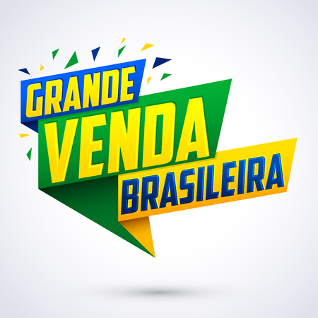 Grande venda Brasileira - Brazilian Great sale Portuguese text, vector modern colorful promotional banner