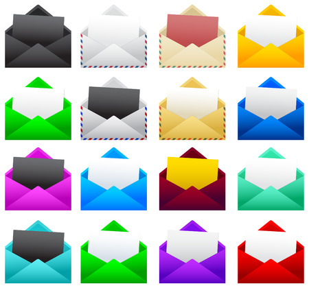 Mail postal envelope with a sheet of paper, vector illustration collection set.
