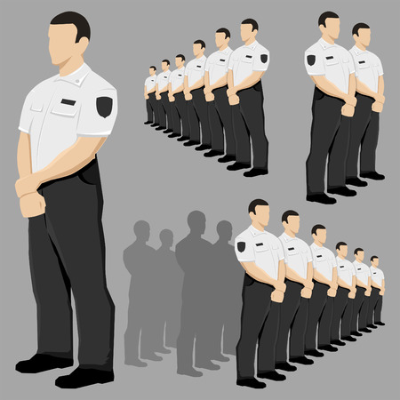 Police security guard vector set with black and white uniform