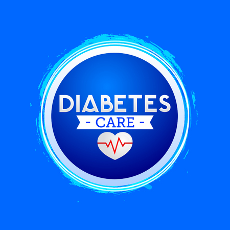 Diabetes Care icon design, blue circle emblem