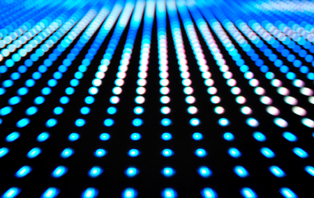 leds: Defocused colored LEDs, Blue blur abstract background ready for your design
