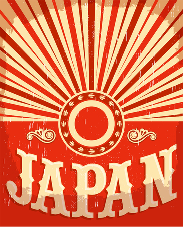 Japan vintage old poster with Japanese flag colors, vector design, japan holiday decoration