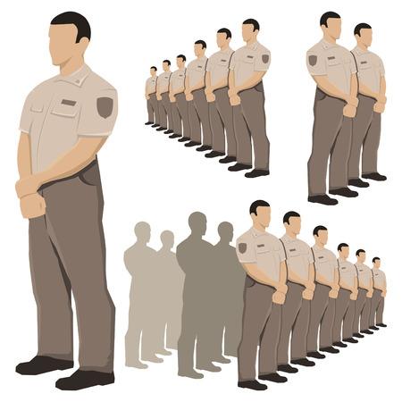 correctional: Police security guard vector set with khaki brown uniform