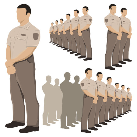 Police security guard vector set with khaki brown uniform