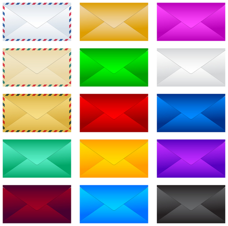Post postenvelvelop vector illustratie set, collectie.