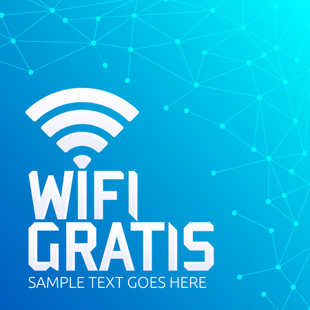 Wifi Gratis, Spanish translation: Free Wifi, vector zone sign icon. Illustration