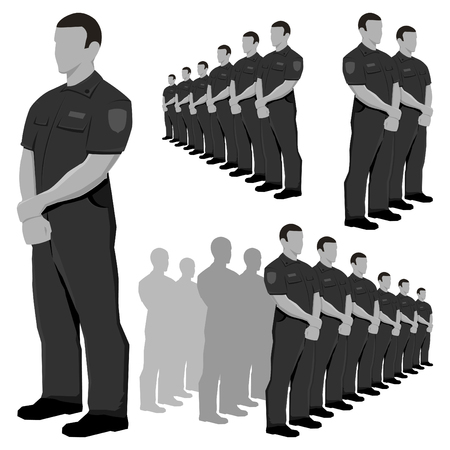 security: Police security guard grayscale vector set. Illustration