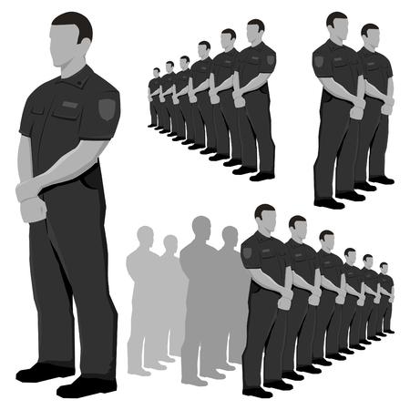 Polizia di guardia serie di vettori in scala di grigi. Vettoriali