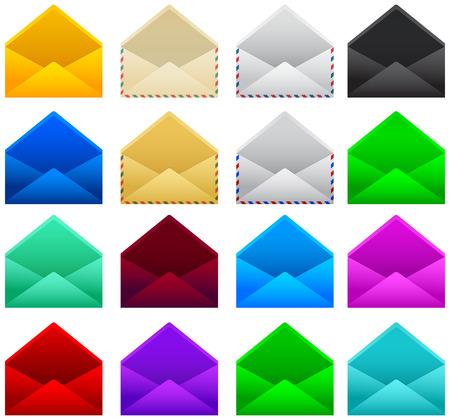 Post post envelop vector illustratie set collectie Stock Illustratie