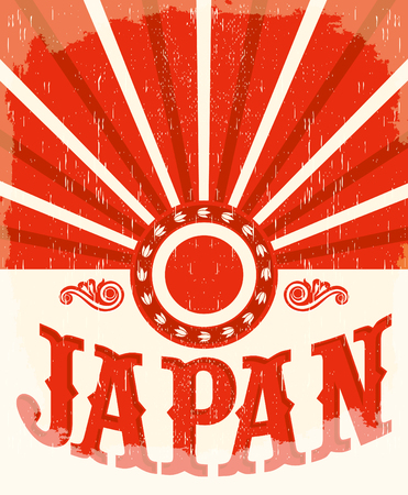 Vintage old poster with Japanese flag colors, vector design, japan holiday decoration