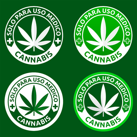 Cannabis, Solo para uso medico - Only for medical use spanish text, Medical Marijuana emblem collection, icon for medical dispensary