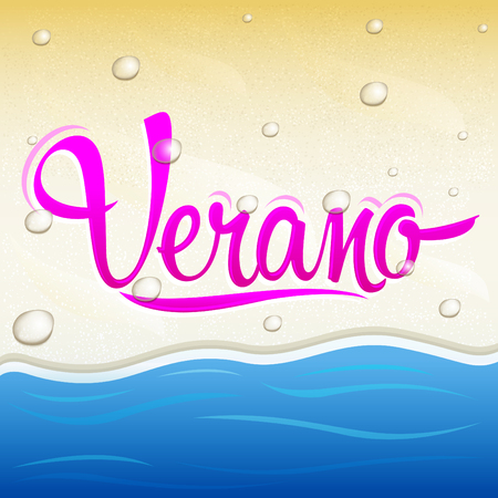 Verano, Summer spanish text, vector lettering design with beach background