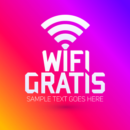 wi: Wifi Gratis, Spanish translation: Free Wifi, vector zone sign icon