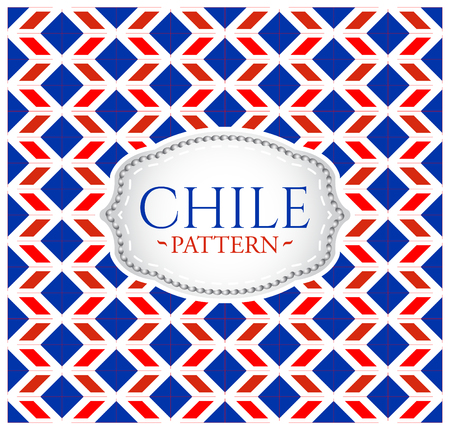 Chile pattern - Seamless Background texture and emblem with the colors of the flag of Chile Vector Illustration