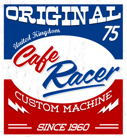 Cafe Racer,  vintage motorcycle design vector lettering, shirt print Grunge texture can be easily removed