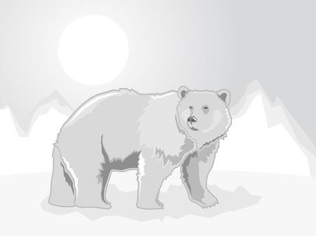 Polar Bear on a stylized ice mountain background, Vector illustration