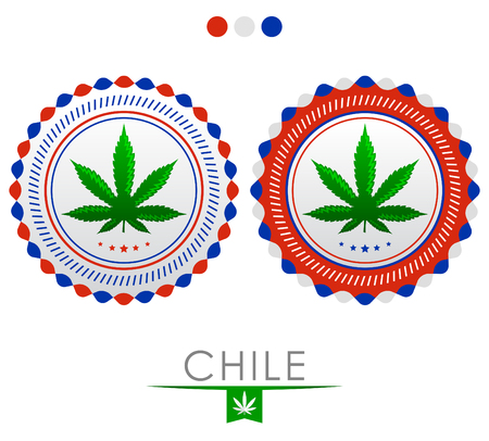 weeds: Chile marijuana emblem - vector cannabis seal of approval with the colors of the flag of Chile