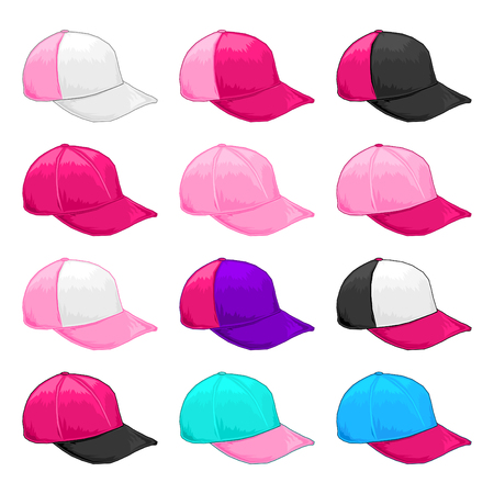 Pink cap, Vector Variety of fiusha, and magenta color combinations cap template