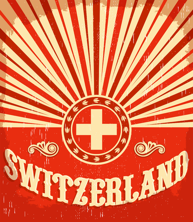 Switzerland vintage old poster with Swiss flag colors - vector design, holiday decoration Illustration