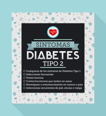 type 1 diabetes: Sintomas Diabetes tipo 2, Spanish translation: Symptoms of type 2 Diabetes, Any symptoms of type 1 diabetes, blurry vision, slow heal bruises, Tingling in feet, Frequent skin or bladder infections