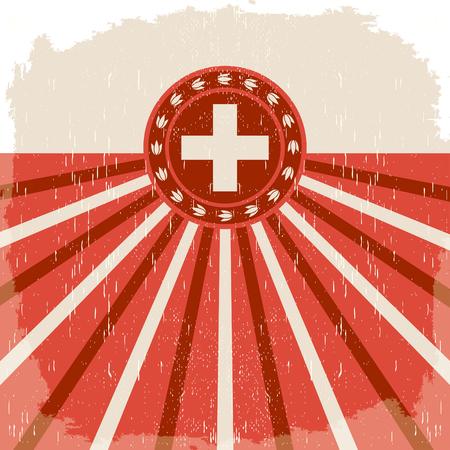 De uitstekende oude affiche van Zwitserland met Zwitserse vlagkleuren - vectorontwerp, vakantiedecoratie.