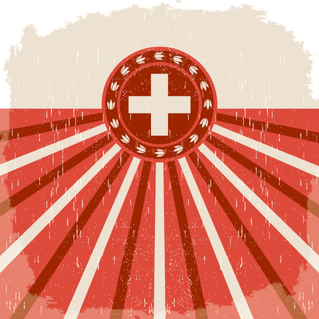 Switzerland vintage old poster with Swiss flag colors - vector design, holiday decoration. 矢量图像