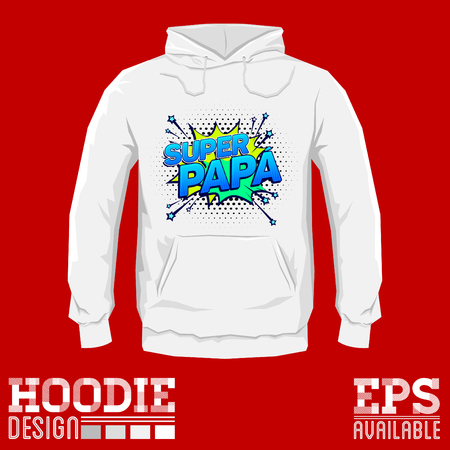 Super papa, Super Dad spanish text, Vector Graphic hoodie print design template Illustration