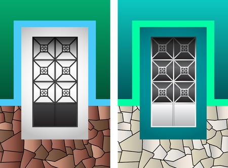 Rustic Colonial window vector illustration Illustration