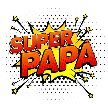 Super papa, Super Dad spanish text, father celebration vector illustration