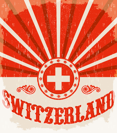 Switzerland vintage old poster with Swiss flag colors - vector design, holiday decoration Çizim