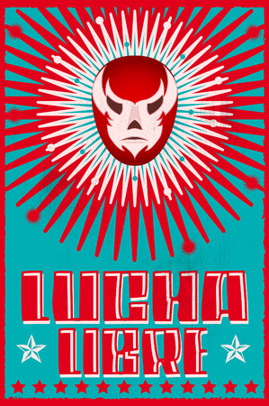 Lucha Libre wrestling spanish text Mexican wrestler mask silkscreen poster