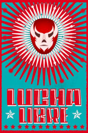 Lucha Libre wrestling spanish text Mexican wrestler mask silkscreen poster