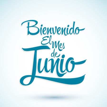 Bienvenido el mes de Junio - Welcome June spanish text, vector lettering message