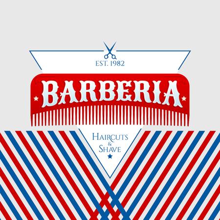 Barberia, Barbershop spanish text, vector emblem design with hair comb